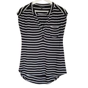 Cable & Gauge black & white striped cap sleeve top